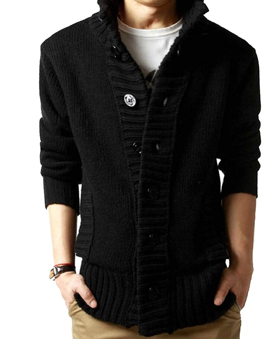 Jaycargogo Mens Casual Warm Stand Collar Cable Knitted Button Down Cardigan Sweater