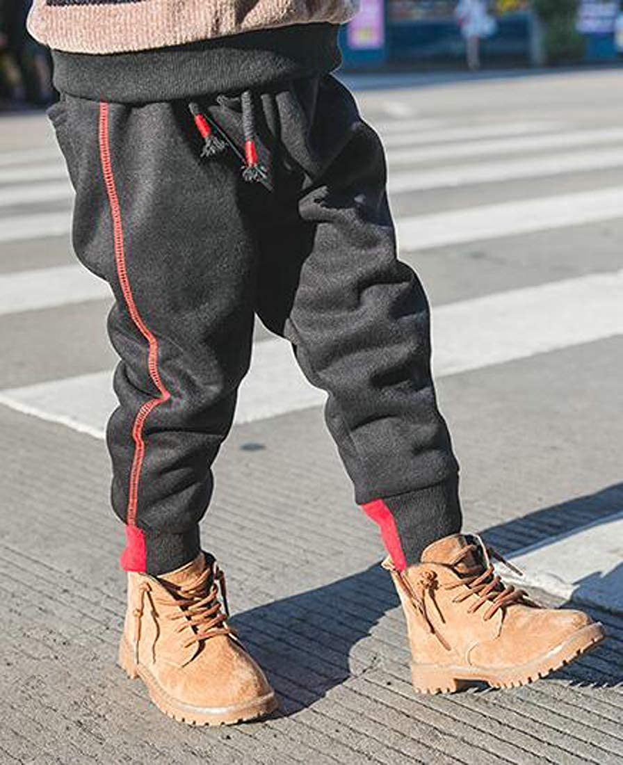 Pluszing Boys Thick Fleece Sports Jogger Winter Casual Pants