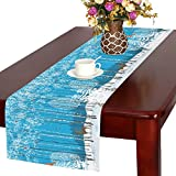InterestPrint Winter Forest with Birch Tree Bird Deer Long Table Runner 16 X 72 Inches, Christmas Landscape Animal Table Runner Cotton Cloth Placemat for Office Kitchen Dining Wedding Party Home Decor