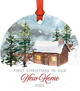 Andaz Press Metal Christmas Ornament, First Christmas in Our New Home 2020, Watercolor Rustic Deer, 1-Pack, Includes Ribbon and Gift Bag
