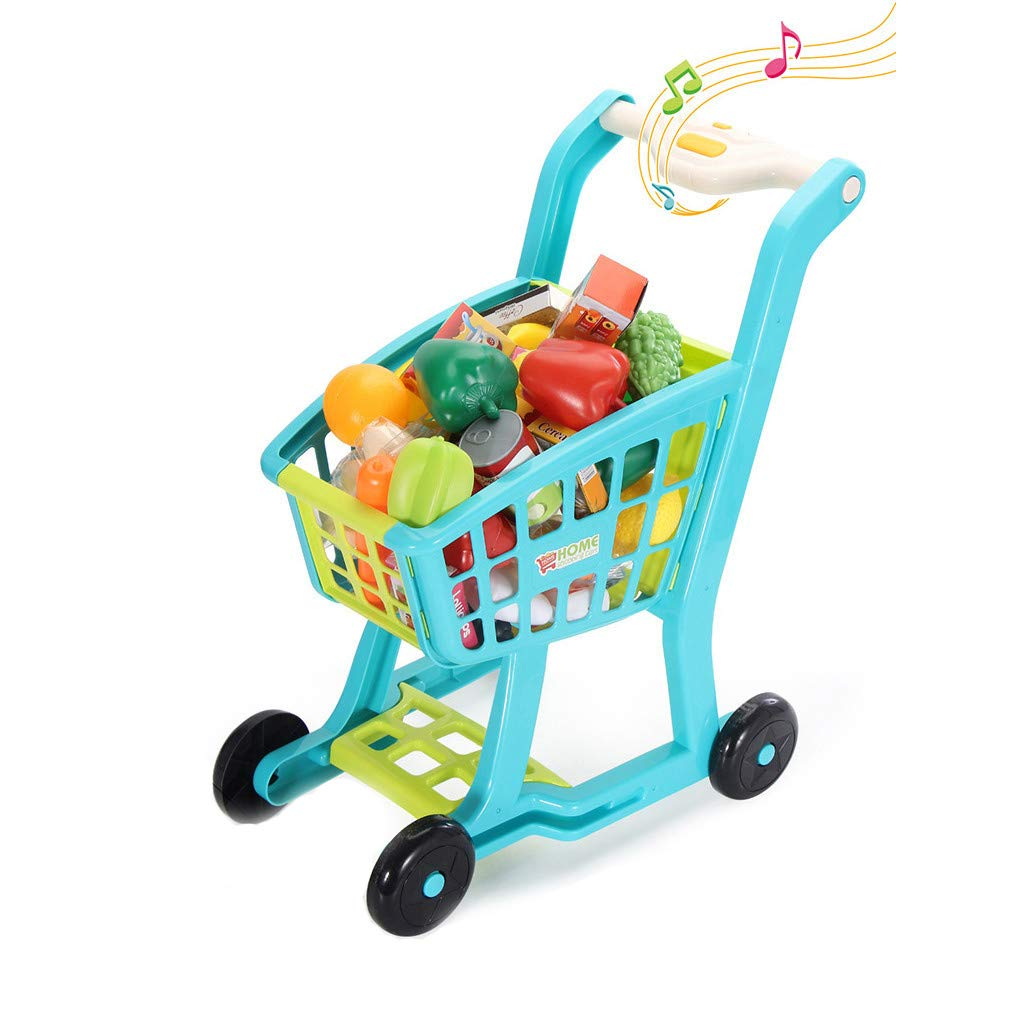 UPDD-toy Educational Shopping Cart, Shopping Grocery Cart Toys with Music Light, Children's Groceries Pretending Kitchen and Food Toys for Toddlers Age 3 Years and Up,Blue by UPDD-toy