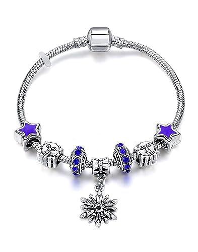 Pearl & Swarovski Crystal Dangling Love Charms Bracelet  Fancy Ladie-s  Heart Collection