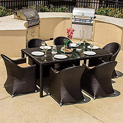 Lakeview Outdoor Designs Providence 6 Person Resin Wicker Patio Dining Set, Espresso - Contemporary style with long lines and sloping angles adds a modern touch to outdoor furniture Equipped with an umbrella hole to add shade on warm days Viro all weather wicker is wrapped over a rust-resistant aluminum frame - patio-furniture, dining-sets-patio-funiture, patio - 61BHXv715oL. SS400  -