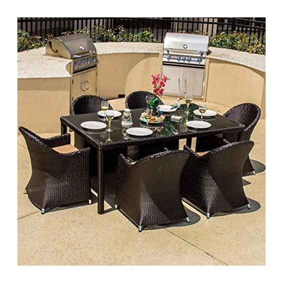 Lakeview Outdoor Designs Providence 6 Person Resin Wicker Patio Dining Set, Espresso - Contemporary style with long lines and sloping angles adds a modern touch to outdoor furniture Equipped with an umbrella hole to add shade on warm days Viro all weather wicker is wrapped over a rust-resistant aluminum frame - patio-furniture, dining-sets-patio-funiture, patio - 61BHXv715oL. SS570  -