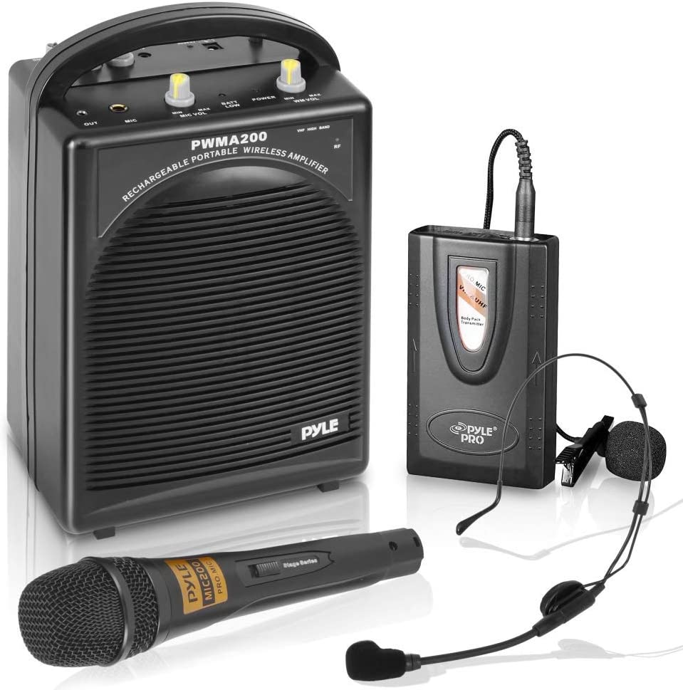 Pyle Portable PA Speaker & Microphone System - FM Stereo Radio, Built-in  Rechargeable Battery, Aux & Microphone Inputs, Includes Beltpack, Handled