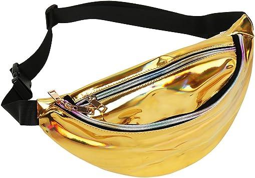Windyeu Bolsa de Riñonera de Neón PVC Brillante Resistente al Agua Láser Holográfico Cintura Impermeable para Mujeres de Smartphone Dinero Monedas Llaves Pasaporte (Oro): Amazon.es: Equipaje