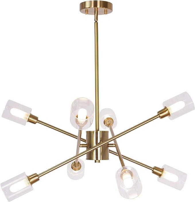MELUCEE 10 Lights Sputnik Chandelier Brass, Semi Flush Mount