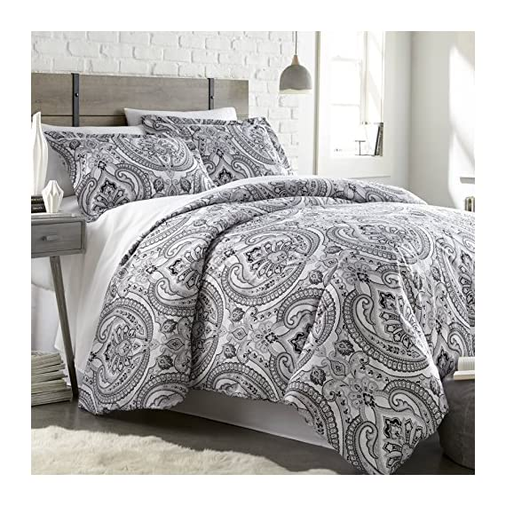 Southshore Fine Linens - The Pure Melody Collection - Comforter Sets, 3 Piece Set, Full/Queen, Black - FULL / QUEEN Size is a 3-Piece Set and contains One Comforter: 92 in wide x 92 in long, Two Shams: 20 in wide x 26 in long. Made with 240 GSM of Down Alternate Filling and our Signature 110 GSM Microfiber Fabric. BUY WITH COMPLETE CONFIDENCE - This is a Southshore Fine Linens Product and Comes with a ONE YEAR Warranty. We strive for 100% Customer Satisfaction. If for any reason you are not satisfied, please contact us and we will take care of you. Please make sure you are buying from Southshore Fine Linens or our FBA Account to qualify for this Warranty. We do not have any Authorized Dealers. We promise to do our absolute best to resolve any issues you might have. EASY CARE - Machine wash in cold. Tumble dry low. Remove Promptly. - comforter-sets, bedroom-sheets-comforters, bedroom - 61BHYg1AvqL. SS570  -