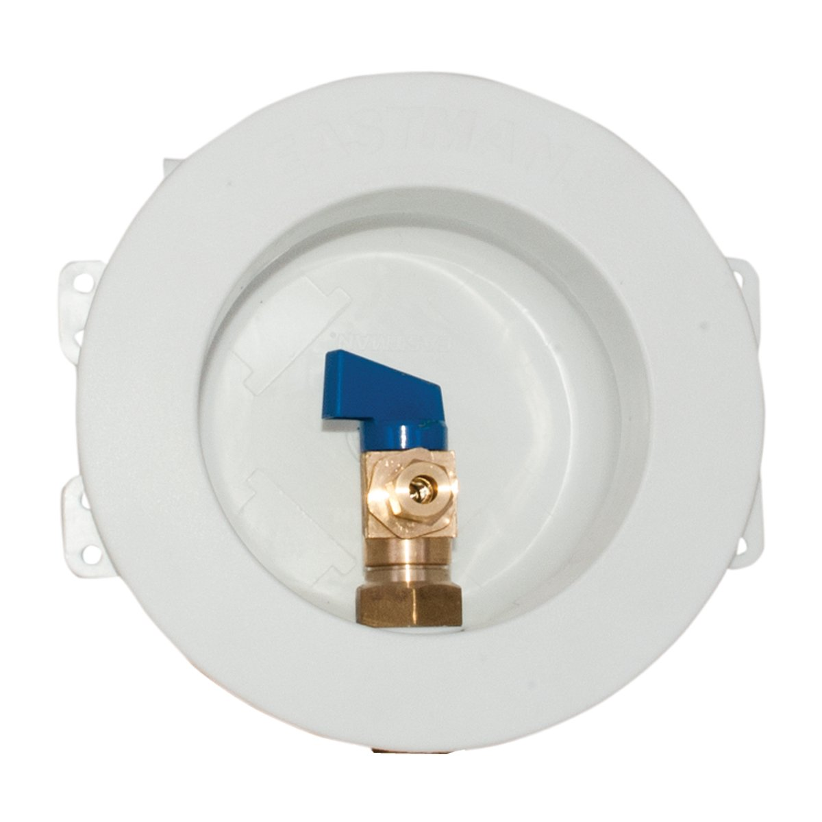 Eastman 60263 Round Mini Ice Maker Outlet Box, 1/2-inch Expansion PEX Connection with Installed 1/4-Turn Ball Valve, White
