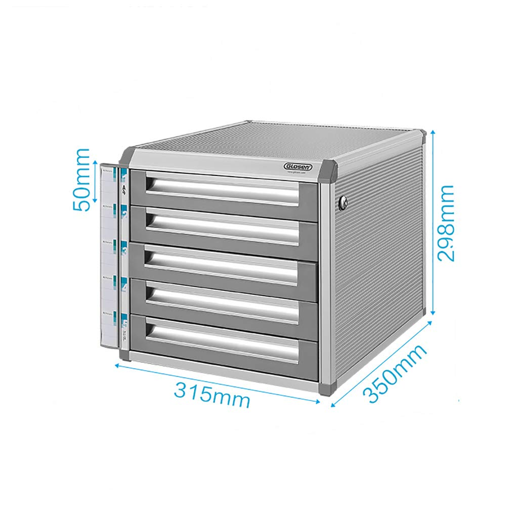 File Cabinet, Desktop Extension Drawer Lockable Office Organizer (Aluminum Alloy) (Size : 5-31.53529.8CM)