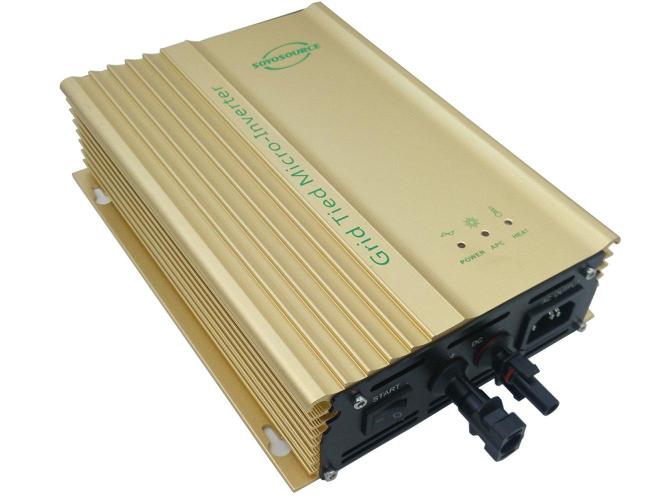 SOYOSOURCE 500W 12v grid tie inverter for solar panels Voc-Input:16V-28V, mppt voltage 11v-22v dc 110V60HZ AC output for 12v battery Solar Inverter pure sine wave (500W PV-INPUT:16V-28V)