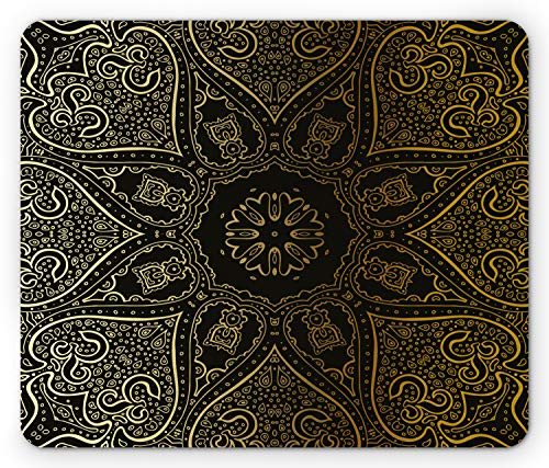 - Printawe Mandala Mouse Pad, Large Asian Flower Spiritual Harmony Theme Arabian Artistic Elements, Standard Size Rectangle Non-Slip Rubber Mousepad, Black Yellow Pale Yellow
