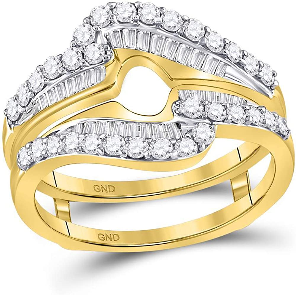 Solid 14k Yellow Gold Round Diamond Wrap Ring Guard Enhancer Wedding Band 3/4 Ct. - Size 7