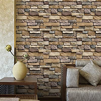 Modern Brick Pattern Self-adhesive Peel-Stick Wallpaper Wall Sticker Vinyl Removable Contact Paper Wallpaper-17.7x39 Inches