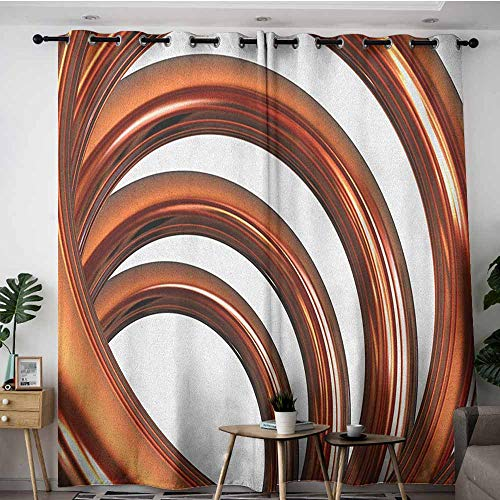 (AGONIU Thermal Insulated Blackout Curtains,Abstract Helix Coil Curved Spiral Pipe Swirled Shape on White Backdrop Print,Great for Living Rooms & Bedrooms,W72x96L Dark Orange and White)