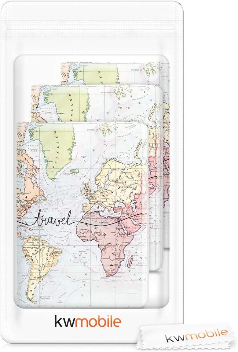 /Étui Passeport /à Rabat kwmobile 3X Porte-Passeport Voyage Pochette de Protection Prot/ège-Passeport ou Carte dIdentit/é Noir-Multicolore