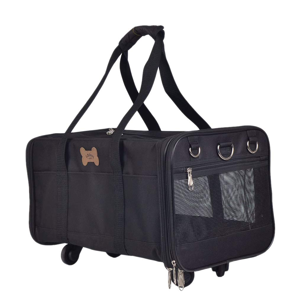 Black perfk Pet Wheels Rolling Carrier, Removable Wheeled Travel Carrier wi Extendable Handle  black