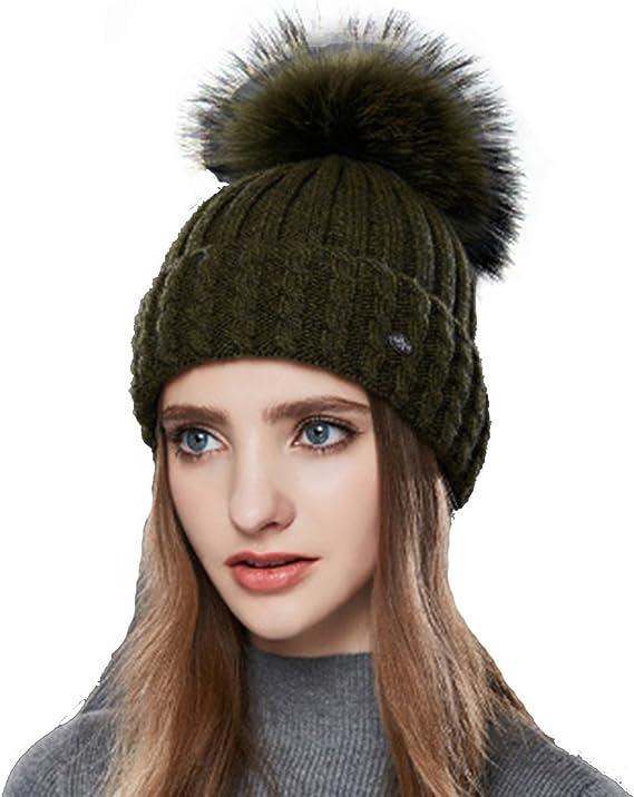 Unisexe Chaud Uni Tricot Pompon Bonnet Avec Polaire Doublure hiver fellbommel Casquette