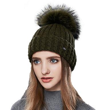 36216440b19 DUVERT Bonnet Femme Hiver Tuques d hiver Bonnet Chapeau Femme Unisexe Laine  tricoté
