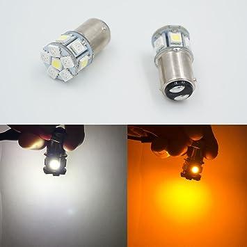 2 bombillas BA15D 21/5 W 12 LED 6 V blanco + amarillo para coche para parada de luz/trasero/lámpara de marcha atrás: Amazon.es: Coche y moto