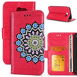 For Samsung Galaxy J3 2017 / J3 Prime / J3 Mission / J3 Eclipse / J3 Luna Pro Case,ihreesy Flash powder Datura flowers holster PU Leather Wallet Flip Protective Case Cover-Rosy