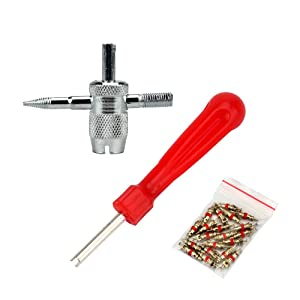 SENZEAL Single Head Valve Removers Red with 4 in 1 Tyre Valve Repair Tool and 20pcs Valve Cores