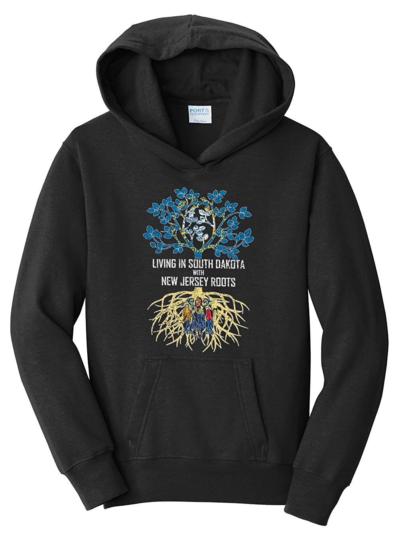 Tenacitee Girls Living in South Dakota with New Jersey Roots Hooded Sweatshirt