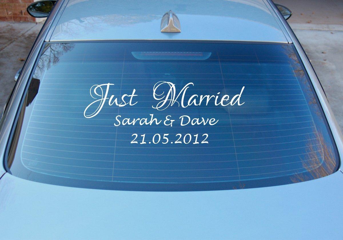 Custom Personalised Just Married Wedding Personalised Car Window - Personalised car window stickers