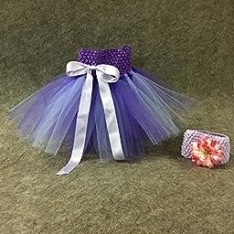 BBVESTIDO Baby Girls Purple Tutu Skirt With Flower Headdress for 1st Party
