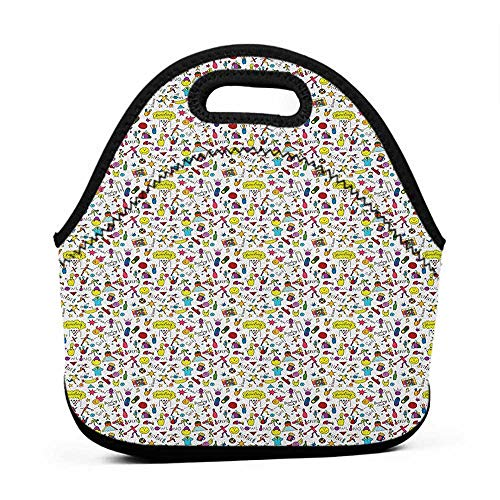 Convenient Lunch Box Tote Bag Bowling,Cartoon Style Cheerful Hobby Pattern for Toddler and Children with Colorful Design, Multicolor,tinkerbell lunch bag for adults