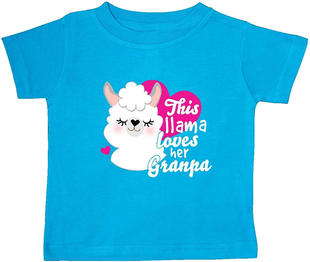 inktastic Valentines Day This Llama Loves Her Granpa Baby T-Shirt