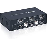 PWAY KVM Switch HDMI Dual Monitor, 2 Port Extended Display, 2 USB 2.0 Hub, Support Wireless Keyboard & Mouse, Hotkey…