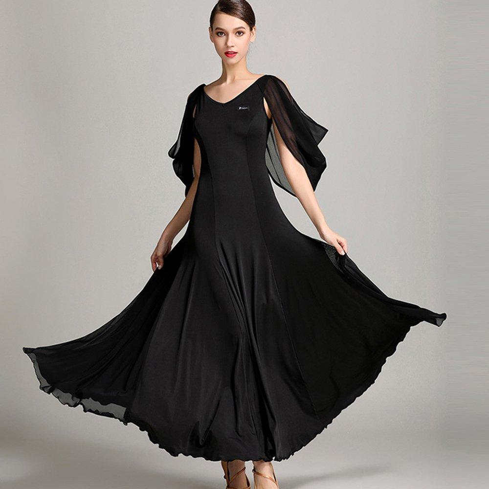 新到着 現代の女性大きな振り子舞う糸ダンススカートタンゴとワルツダンスドレスダンスコンペティションスカートシフォンフローティングスリーブダンスコスチューム B07HHXNKBS Black XL|Black Black XL B07HHXNKBS XL, 素晴らしい品質:ab46abf1 --- a0267596.xsph.ru