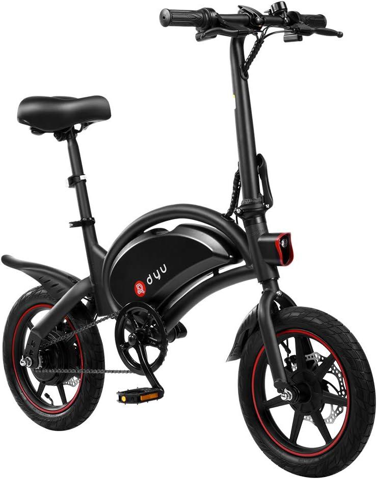 AmazeFan DYU D3F Bicicleta eléctrica Plegable de montaña, Bicicleta de aleación de Aluminio de 240 W, batería extraíble de Iones de Litio de 36 V / 6 Ah con 3 Modos de conducción