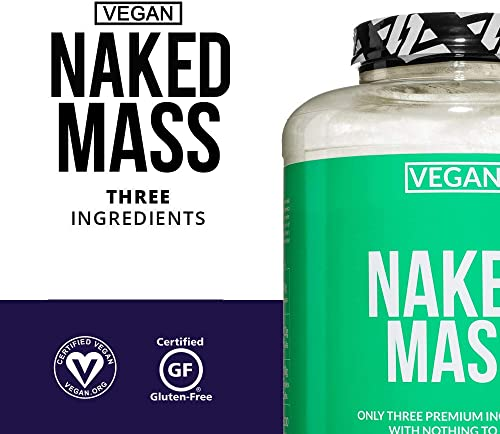 Naked Vegan Mass Natural Vegan Weight Gainer Protein Powder 8lb Bulk, GMO Free, Gluten Free, Soy Free Dairy Free. No Artificial Ingredients 1,230 Calories 11 Servings