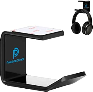 Headphone Stand Hanger, Proxima Direct Headset Holder Under Desk Mount Hook Hanger for All Size Wired Wireless Headphone/Gaming Headphone Earphone, Black (1 Pack)