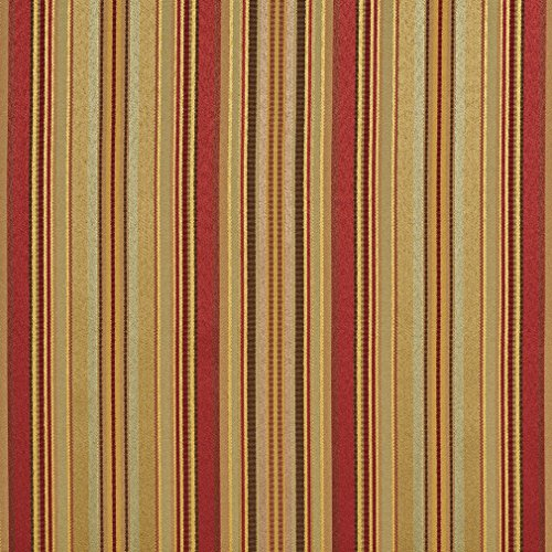 B0160G Sage Green Red And Gold Shiny Thin Striped Silk Satin Look Upholstery Fabric By The Yard ()