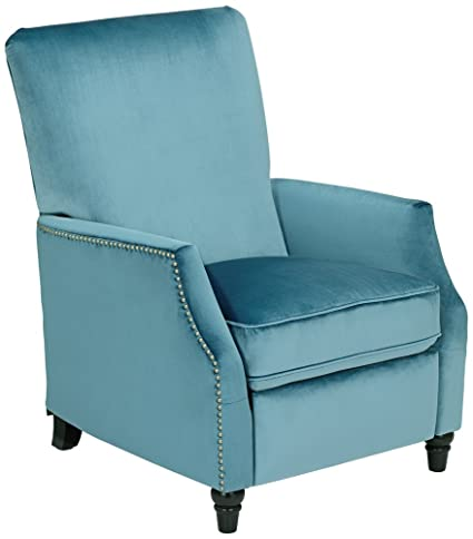 Charmant Katy Turquoise Velvet Push Back Recliner Chair