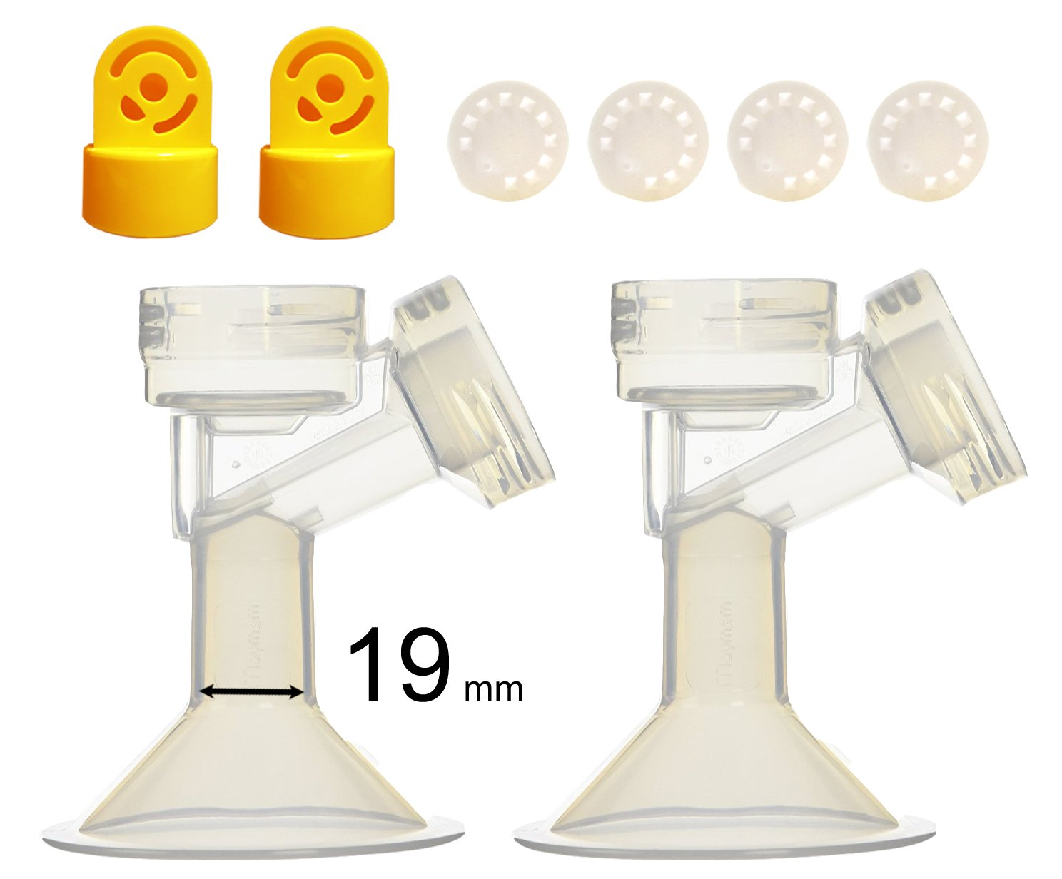 19 mm One-Piece Breastshield w/ Valve, Membrane for Medela Breast Pumps (Pump in Style, Lactina, Symphony); Repalcement of Medela PersonalFit Breastshield (Extra Large, Large, Medium, Small) & Personal Fit Connector; Made by Maymom M001-2LF2V4M