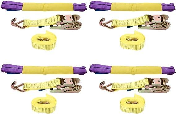 4 Pezzi di Cinturini a Cricchetto 50mm Cinghie Di Fissaggio Con Chiusura Cinghie da Rimorchio Cinghia di Ancoraggio con Tenditore a Cricchetto e Ganci per Pneumatici