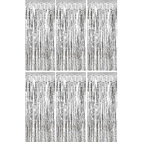 Sumind 6 Pack Foil Curtains Backdrop Fringe Tinsel Metallic Curtains Photo Backdrop for Wedding Birthday Party Stage Decor (Silver) -