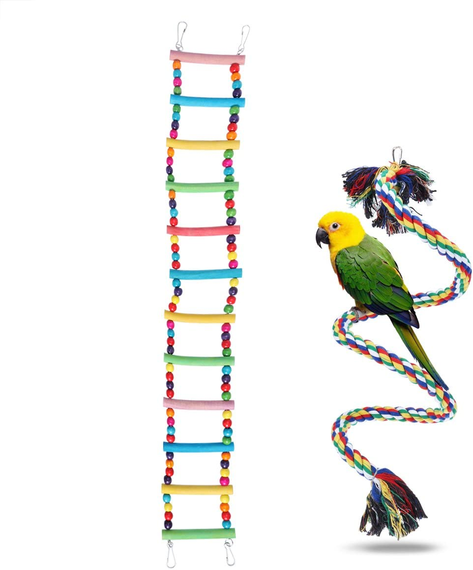 UEETEK 2 piezas de escaleras para pájaros juguetes, escaleras flexibles 12 escalones de madera Rainbow Bridge columpios y cuerdas para entrenamiento de loros: Amazon.es: Productos para mascotas