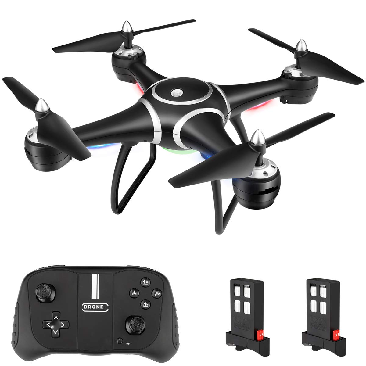 RC Drone Quadcopter, HALOFUNO Remote Control Toys Drones Plane with Altitude Hold Mode One Key Take Off/Landing 3D Flips Headless Mode for Adults Boys Girls-Black ...