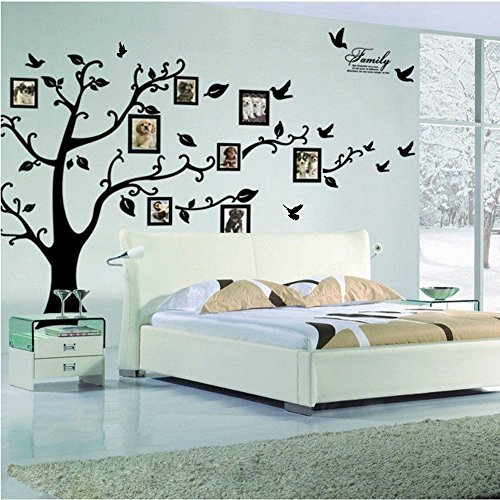 Large Family Tree Wall Decal. Peel & stick vinyl sheet, easy to install & apply history decor mural for home, bedroom stencil decoration. DIY Photo Gallery Frame Decor Sticker By LaceDecaL ()