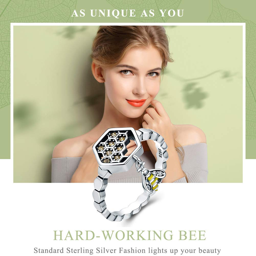Everbling Bee with Honeycomb 925 Sterling Silver Ring Yellow CZ
