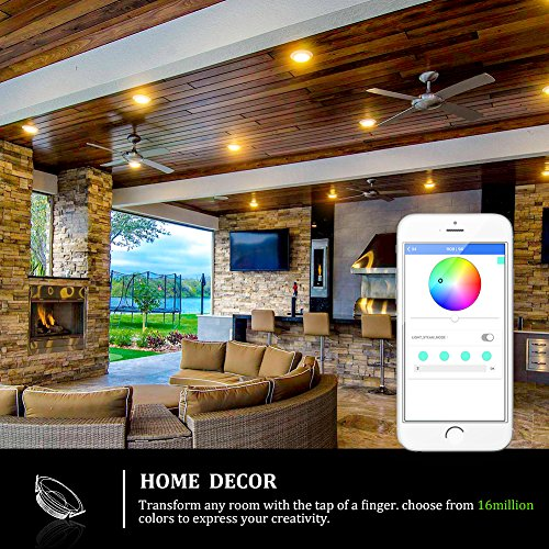 iLintek Smart LED Downlight, 6 inch Multicolored Dimmable,Bluetooth App Controlled,Party Disco Color Changing Light Bulb 2700K-6500K,BLE Mesh Group Controlled,13W-Equivalent 85w,No Hub Required by Ampadina (Image #1)
