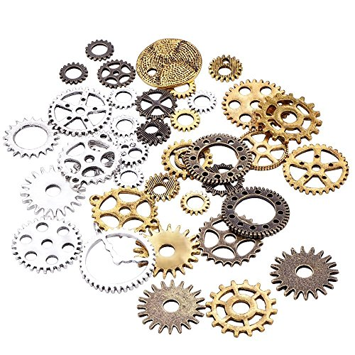 Evinis Wholesale Mix 100 Gram Vintage Steampunk Charms Gear Pendant Three Colors Fit Bracelets Necklace DIY Metal Jewelry Making  (Mixed Colors)