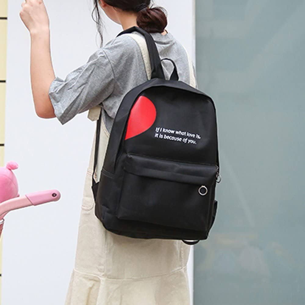 Girlfriends Couple Canvas Letter Backpack Outdoor Travel Backpack Student Bag
