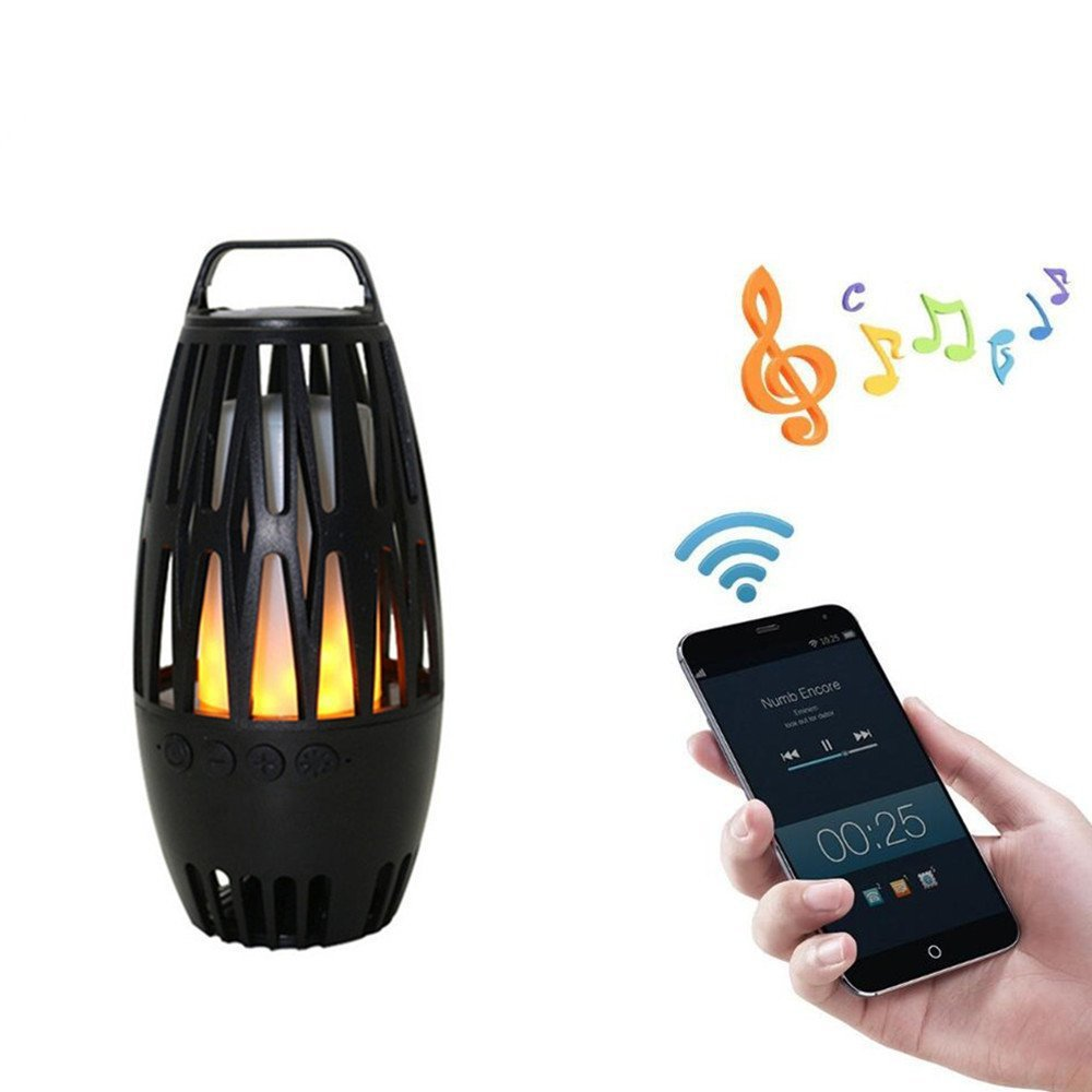 LED Flame Bluetooth Speaker, Outdoor Stereo Portable Wireless Speaker, Flicker Flame Atmosphere Lamp for Festival, Party, Camping, Barbecue, Wedding, etc For iPhone Android 1pc fhong