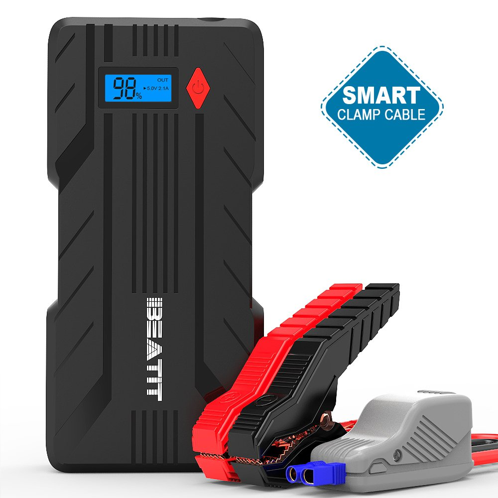 Beatit BT-B7 1200A Peak Car Jump Starter (up to 7.2L Gas Or 6.0L Diesel Engines) 12V Auto Battery Booster Power Pack with Smart Jumper Cables